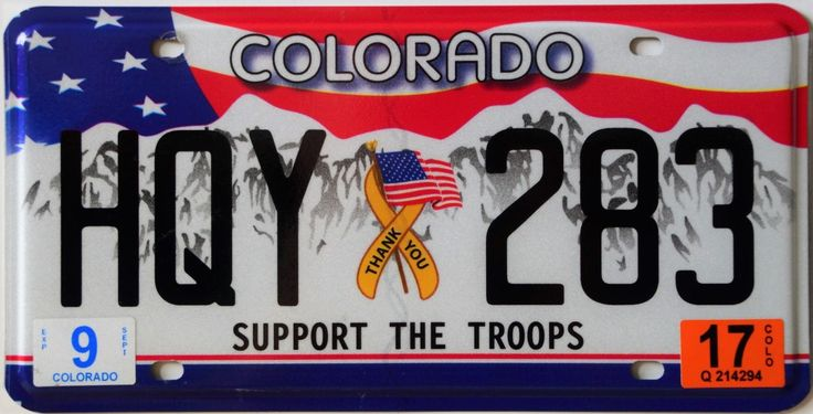 Colorado optional 2017 plate issue serial format abc 123