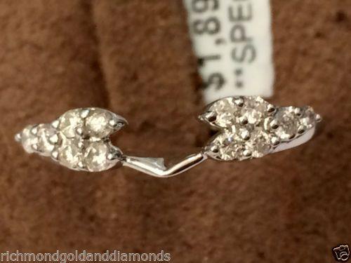 14k-White-Gold-Diamond-Milgain-0-28c-Vintage-Solitaire-Wrap-Ring-Guard-Enhancer