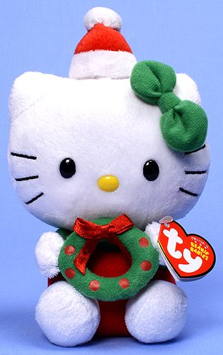 Hello Kitty (Christmas wreath) - cat - Ty Beanie Babies