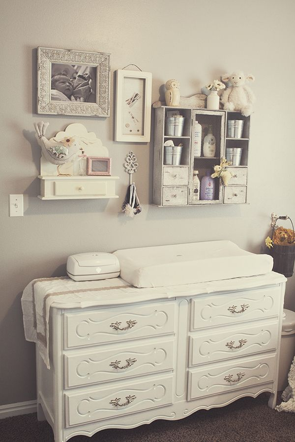 Antique dresser - changing table. LOVE the above organization for diapers and stuff.