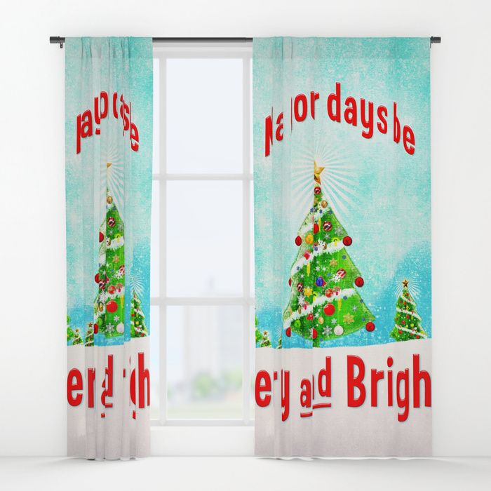 "May Your Days Be Merry and Bright! by Peter Gross  Your drapes don't have to be so drab. Our awesome Window Curtains transform a neglected essential into an awesome statement piece. They're crafted with 100% lightweight polyester, and thick enough to block out some light. Position the curtain rod into the 4"" pocket and you're good to go. All curtains are a single-sided print and measure 50"" x 84"". Available in single or double panel options. Machine wash cold (no bleach!) and tumble dry low."