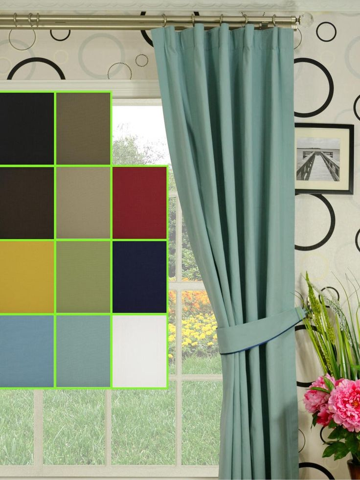 Moonbay Plain Versatile Pleat Cotton Curtains - Custom Curtains Drapes Draperies Sheers Rods and Tracks Fabric material: 100% cotton Colors available: Black, Ecru, Ebony, Sand, Cardinal, Golden yellow, Medium spring bud, Duke blue, Sky blue, Powder blue and White Fabric weight: 252gsm 5 major headings can be formed. Panels are with 100% cotton lining