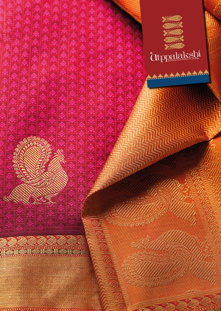 Beautiful motifs in pink on a contrasting dark magenta base sets the tone for the dancing peacock in zari. Rich yellow ochre pallu compliments the beautiful base colour. Bound to turn heads. #Utppalakshi #Sareeoftheday #Silksaree #Kancheevaramsilksaree #Kanchipuramsilks #Ethinc #Indian #traditional #dress #wedding #silk #saree #craftsmanship #weaving #Chennai #boutique #vibrant #exquisit #pure #weddingsaree #sareedesign #colorful #elite
