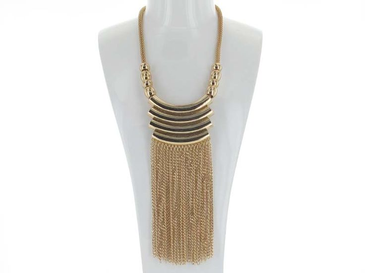 Snake Chain Necklace with Wide Chain Fringe - A long necklace with a little drama!  Delicate chain fringe is edgy and trendy on this funky piece, set on a snake chain base. Available in Silver and Gold.