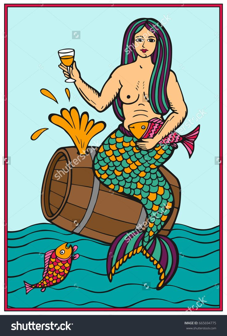 A mermaid on a barrel of wine. Hand drawn illustration in vector. The image can be used for the design of posters, labels of wine products