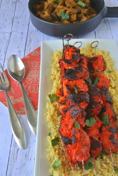 Grilled tandoori chicken kebabs