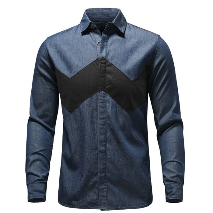 Find More Casual Shirts Information about 2015 New Arrival Patchwork Color High Quality Male Blouse Fashion Long Sleeve Men Denim Shirt Size M 3XL,High Quality shirt folder,China shirt printer Suppliers, Cheap shirt from Mark's Stroe on Aliexpress.com