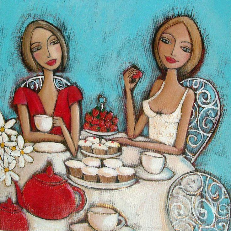спутниковая картинки подружки пьют чай шаль хорошо подобранным