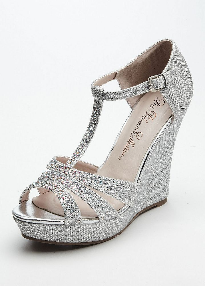 Wedding & Bridesmaid Shoes Glitter T Strap Wedge Sandal Silver Metallic, 8