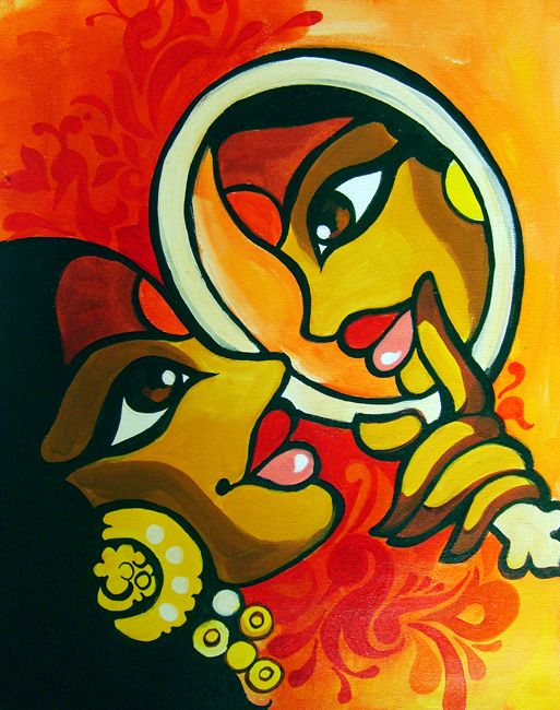 THE MIRROR - acrylics on canvas, figurative art, contemporary indian art, niloufer.com
