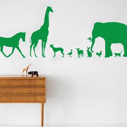 For the #nursery: love these simple, realistic silhouettes. Animal wall decals #allthingsanimal @BabyZone