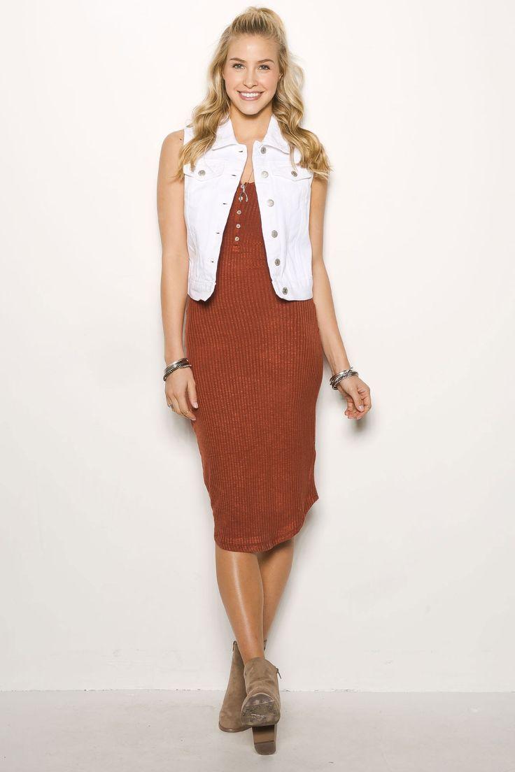 Henley Slub Midi Dress $19.99