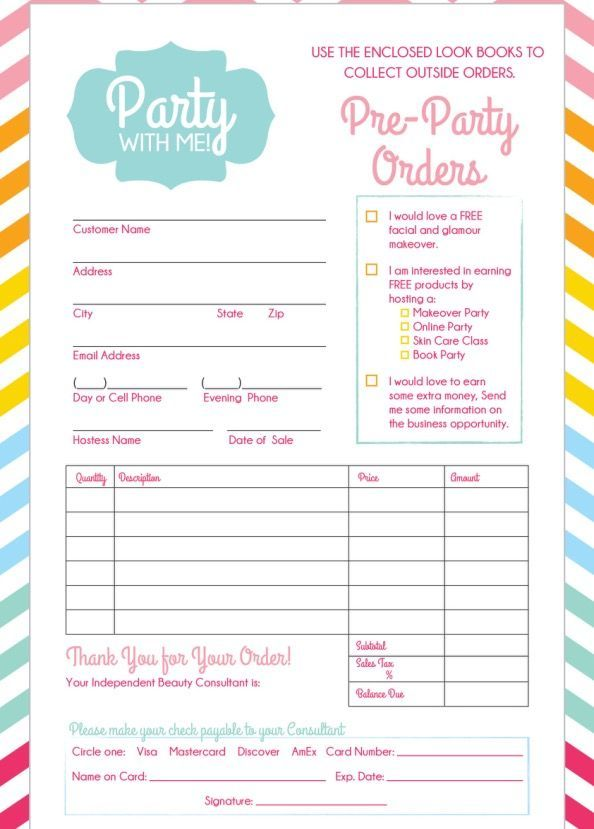 order form flyer  Hostess flyer: pre party order form | Makeover party, Mary ...