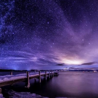 Lake Tahoe the Milky Way over Valhalla pier