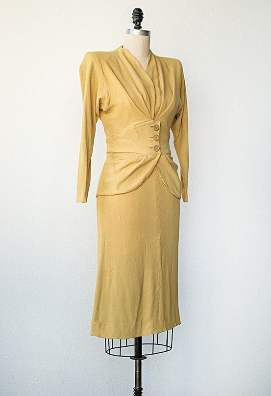vintage 1940s yellow suit
