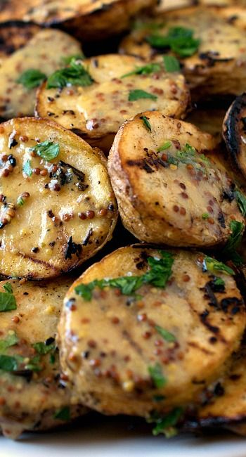 Grilled Yellow Potatoes with Mustard Sauce