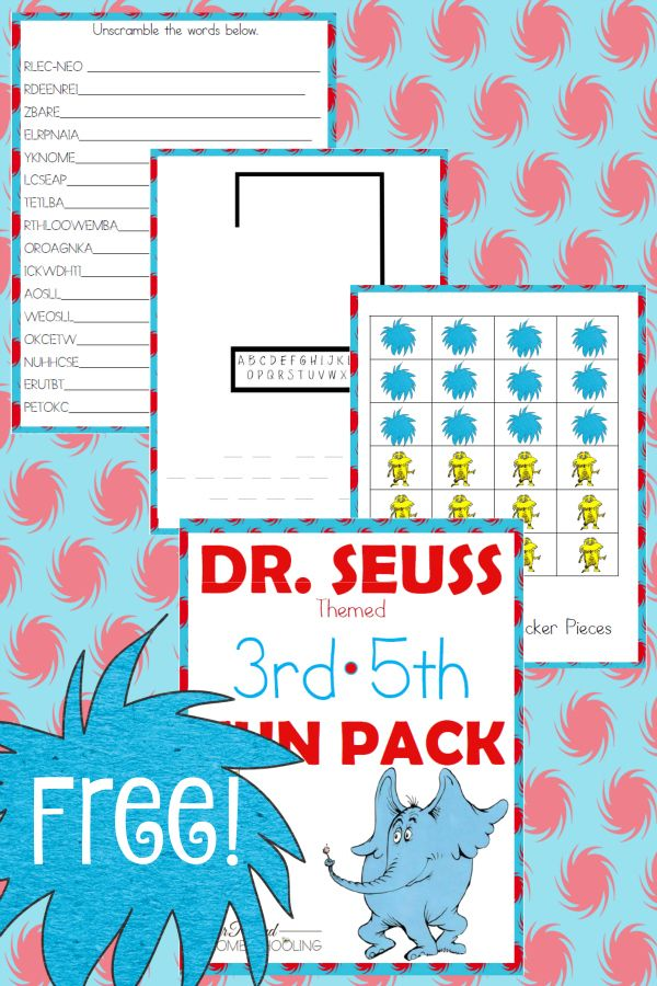Free Dr. Seuss 3rd-5th Fun Pack - Year Round Homeschooling