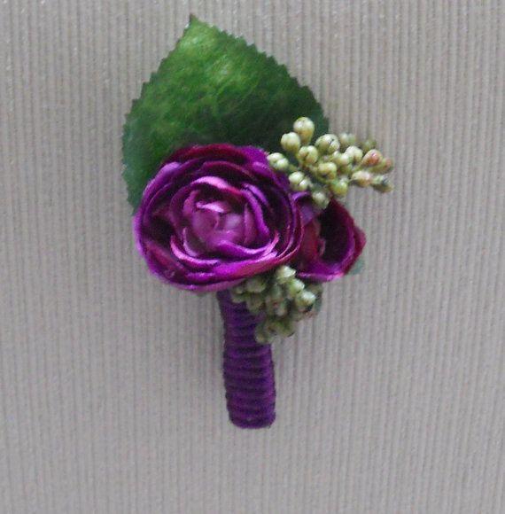 Purple Ranunculus and Sedum Boutonniere