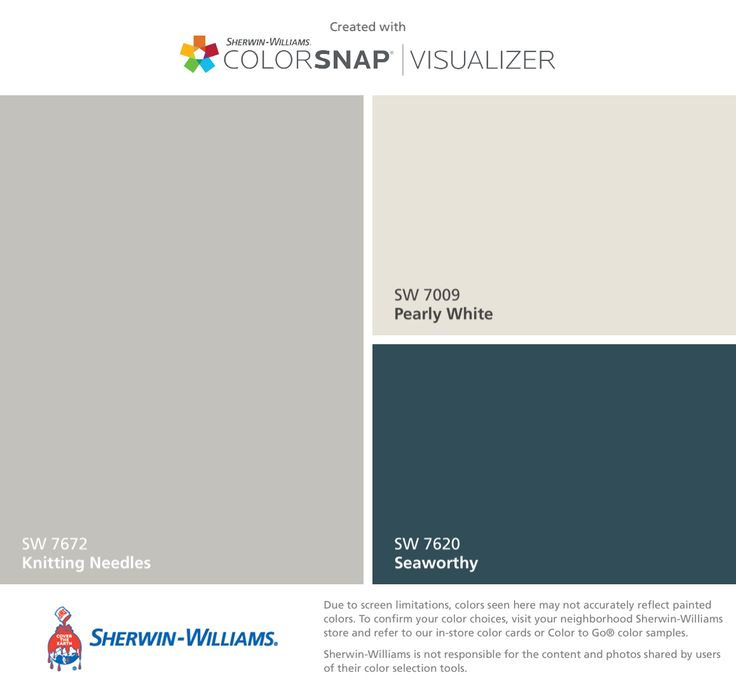 I found these colors with ColorSnap® Visualizer for iPhone by Sherwin-Williams: Knitting Needles (SW 7672), Pearly White (SW 7009), Seaworthy (SW 7620).