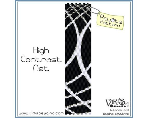 Peyote Stitch Pattern: High Contrast Net bracelet - INSTANT DOWNLOAD pdf - Buy 2 Get 1 free with coupon codes - bp83