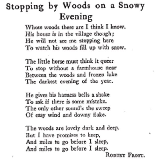 an analysis of a poem stopping by woods on a snowy evening The speaker in frost's poem is of two minds whether to stay and watch the lovely woods fill with snow or keep his promises and move on his confused horse shakes the harness bells.