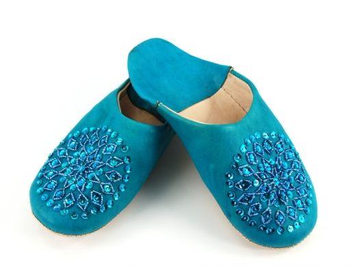 Niebieskie marokańskie babusze Blue Moroccan slippers http://www.etnobazar.pl/search/ca:babusze?limit=128