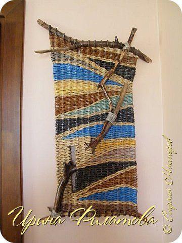 Картина панно рисунок Плетение Время вить гнёзда   Бумага газетная Материал природный Трубочки бумажные фото 1