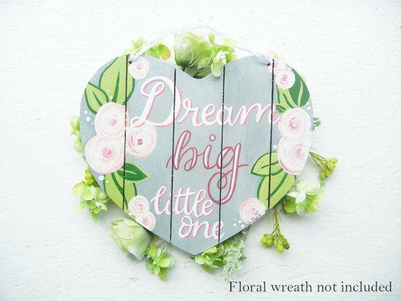 Floral Nursery Wall Decor, Grey and Pink, Dream Big Little One, Baby Girl Nursery Wall Art, Over Cri