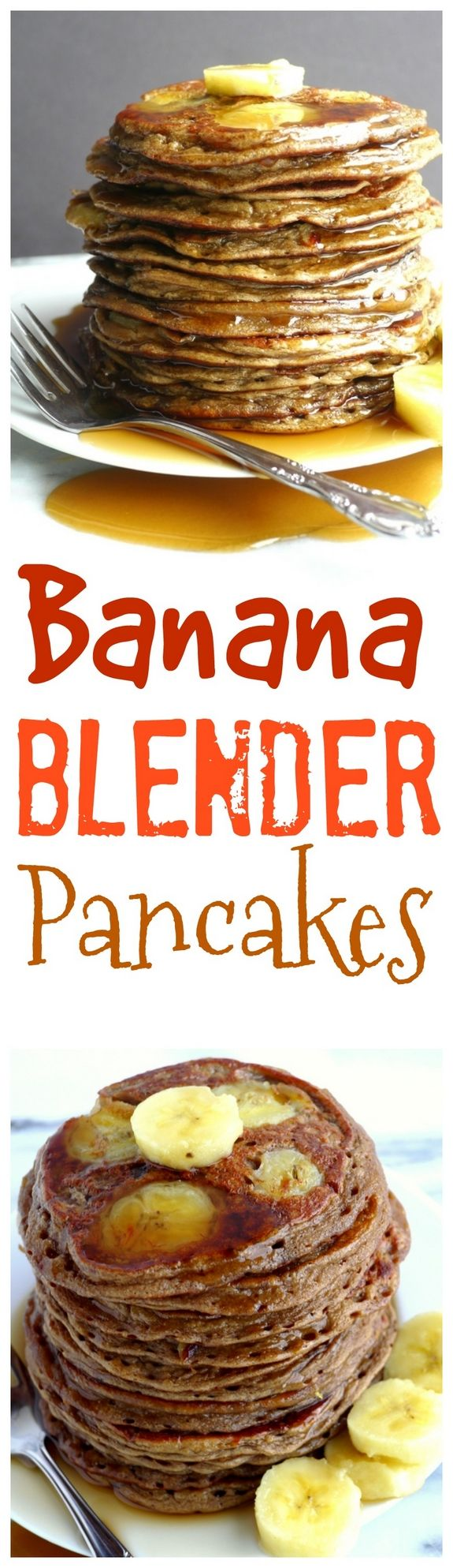 Quick and easy, these Banana Blender Pancakes are a cinch to throw together. Protein rich ingredients help create the base of these delicious and hearty pancakes, making breakfast a win-win for everyone in your home, from NoblePig.com.