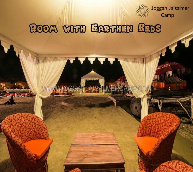 Room with Earthen Beds at Joggan Jaisalmer Camps