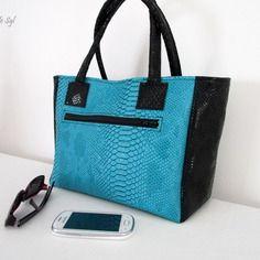 Petit sac cabas en simili cuir dragon turquoise et noir