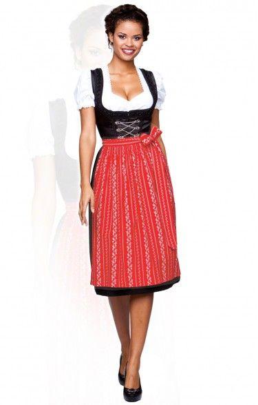 Oktoberfest dirndl apron SC195 - red midi