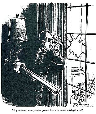 """A Paul Conrad 1970s cartoon depicting President Nixon as a criminal barricaded in the White House with caption, """"If you want me, you're gonna have to come in and get me!"""""""