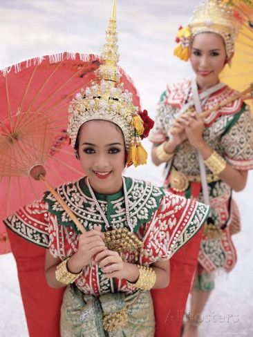 Portrait of Two Dancers in Traditional Thai Classical Dance ...