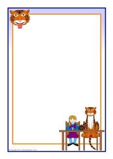 The Tiger Who Came to Tea A4 page borders (SB7698) - SparkleBox