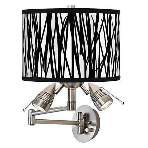 Black Jagged Stripes Giclee Swing Arm Wall Light - #80379-81124 | Lamps Plus