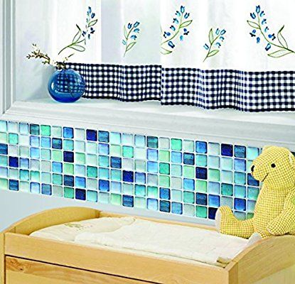 Amazon 【 Dream Sticker 】モザイクタイルシール キッチン 洗面所 トイレの模様替えに最適のDIY 壁紙デコレーション ALT-10 ブルー N-blue 【 自作アートインテリア / ウォールステッカー 】貼り方説明書付属 ウォールステッカー オンライン通販
