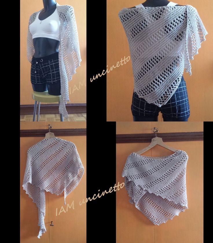 Coda di drago 100% cotone beige lavorato ai ferri.  Knitted lizard shawl, dragon tail wrap.   #madeinitaly #iamuncinetto #handmade #fattoamano #drops #DROPSMuskat  #muskat  http://www.misshobby.com/it/oggetti/coda-di-drago-stola-in-cotone-beige-ai-ferri