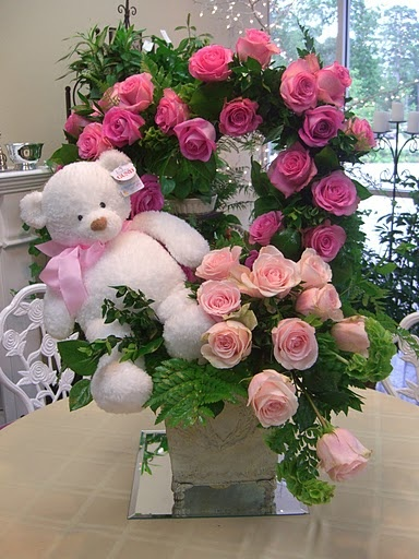 flower arrangement. heart topiary. pink roses. teddy bear. http:thebloomingidea.blogspot.com