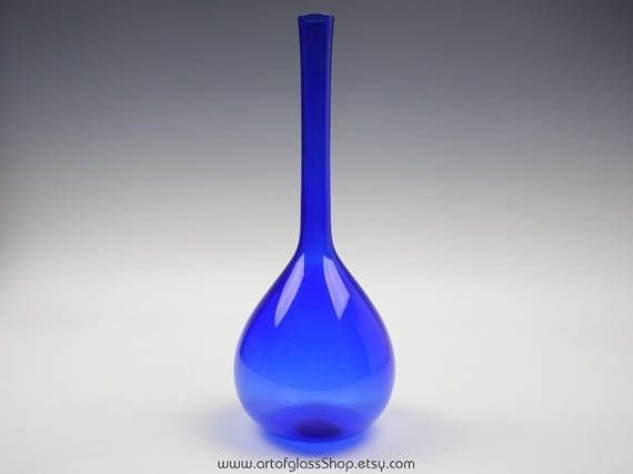 "Swedish 12.75"" tall cobalt blue glass bottle vase"