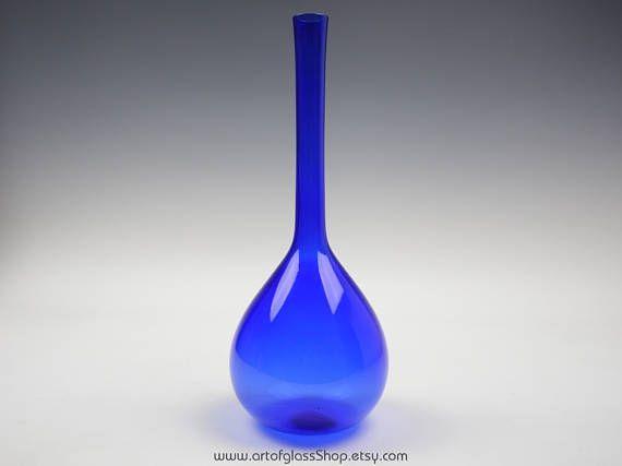 """Swedish 12.75"""" tall cobalt blue glass bottle vase"""