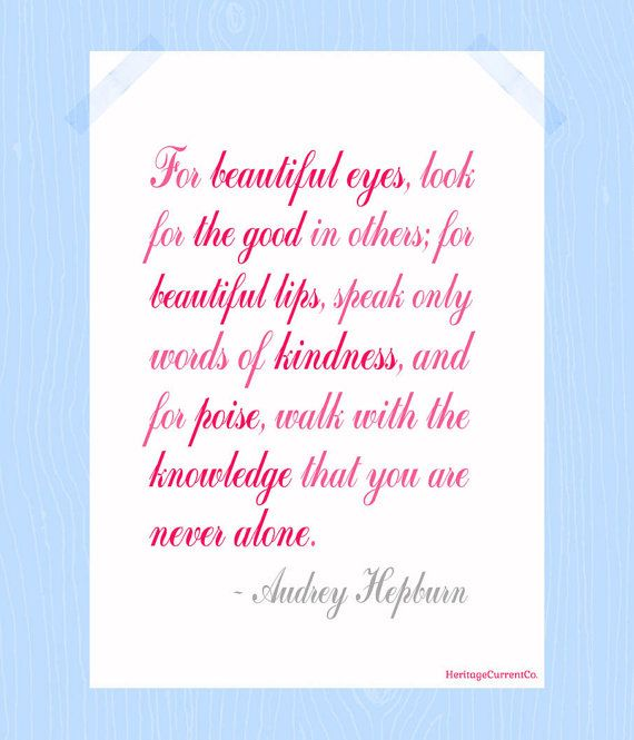 You Are Never Alone Audrey Hepburn Quote Print Printable 5 x 7 Digital Print in Script Pink Gray Friendship Family Nursery Art