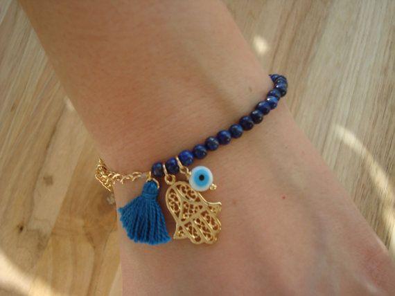 Evil Eye Beaded  Hamsa Bracelet - Lapis Lazuli Bracelet - Tassel Bracelet on Etsy, $16.00