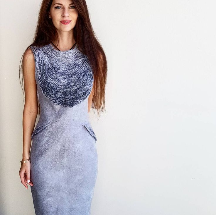 felted merino wool dress decoration with silk and embroidery