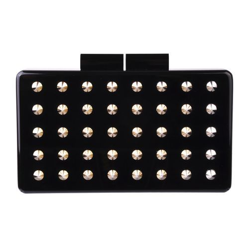 Urania Gazelli Rockstar Clutch - Acrylic clutch with gold black studs. Colour- Black