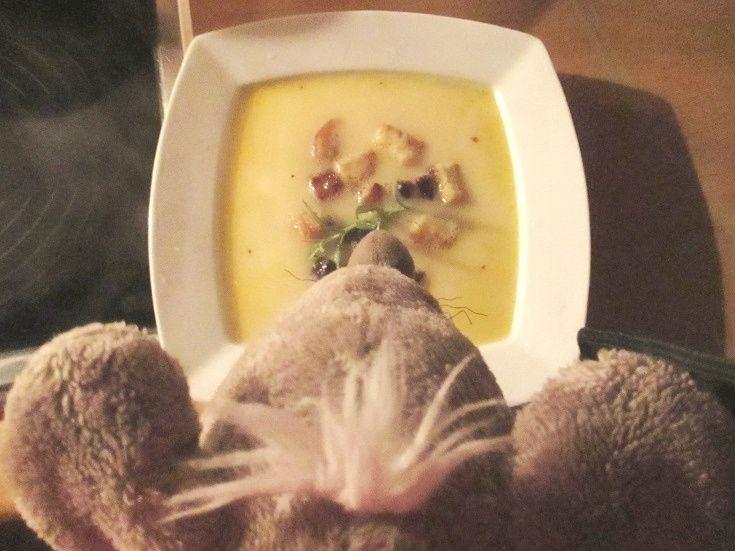 Kabirova SÝROVÁ polévka - Připravte si jeden rohlík, dva hermelíny a dva zeleninové vývary. Ne, fakt nic dalšího :)