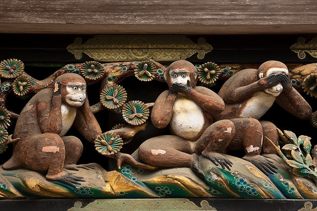 Three wise monkeys over the Tōshō-gū shrine in Nikkō, Japan.   The monkeys & the proverb they represent (see no evil, hear no evil, speak no evil) served as the inspiration for my cute handmade clay keychain here: http://www.etsy.com/listing/192542798/three-wise-monkeys-cute-keychain
