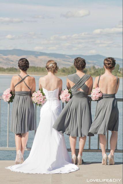 #pinkandgrey #bridesmaids #dresses #wedding