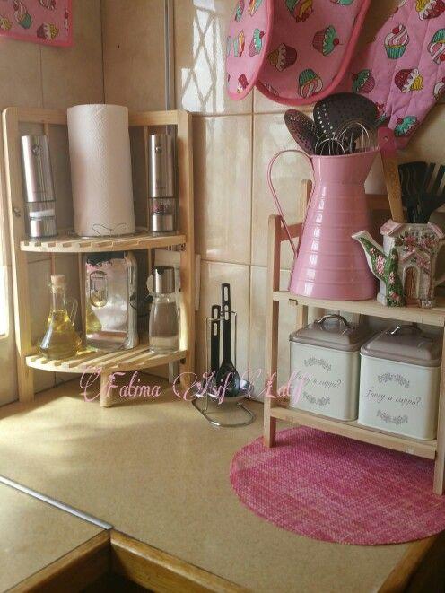 Kitchen counter organisation  Pink kitchen
