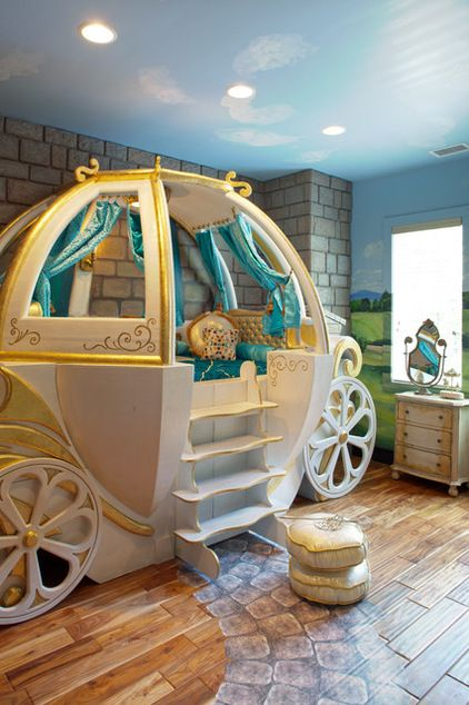 Cool Bedroom Ideas For Teenage, Kids, and Twin - Cinderella. The owner of this gilded carriage must enjoy her enchanted sleep in it. With the coach bed and other fantasy decor, this bedroom would be a dream come true for a girl who loves to play princess. Wonder feature: A detailed path leads to the bed. Eclectic Kids by Hansen Architects, P.C.